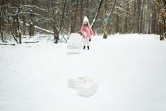 La muchacha está llevando un trineo con las cajas de regalo Imagen de archivo libre de regalías