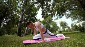 La muchacha está meditando La yoga profesional que practica en el parque que hace la respiración ejercita La mujer morena joven p almacen de video