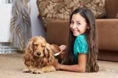 La muchacha está peinando el perro Foto de archivo libre de regalías