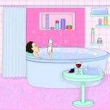 La muchacha está tomando un baño Relajación stock de ilustración