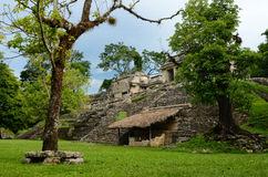 La muchacha explora la estructura arqueológica en la ciudad maya antigua Fotos de archivo