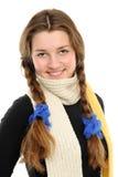 la muchacha feliz con el pelo largo tejido imágenes de archivo libres de regalías