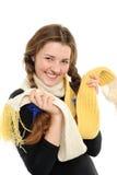 La muchacha feliz con el pelo largo tejido foto de archivo libre de regalías