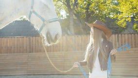 La muchacha feliz en sombrero acaricia la nariz del caballo en fondo soleado almacen de video