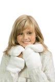 La muchacha feliz en un fondo blanco Fotos de archivo