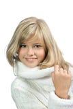 La muchacha feliz en un fondo blanco Imágenes de archivo libres de regalías