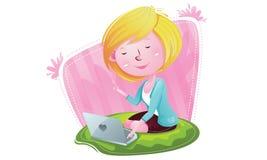 La muchacha feliz tiene idea Fotos de archivo libres de regalías