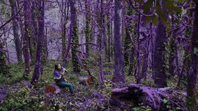La muchacha frágil del bosque violeta del cuento de hadas está descansando sobre un tocón en un grueso, crecido demasiado con el  almacen de video