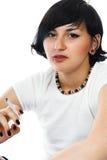 La muchacha fuma Fotos de archivo libres de regalías