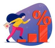 La muchacha funciona con el diagrama al símbolo del descuento precio bajo en la tienda stock de ilustración