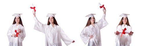 La muchacha graduada con el diploma aislado en blanco foto de archivo libre de regalías