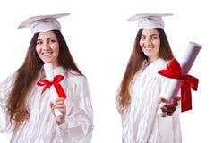 La muchacha graduada con el diploma aislado en blanco imagen de archivo libre de regalías