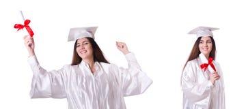 La muchacha graduada con el diploma aislado en blanco foto de archivo