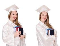 La muchacha graduada con el diploma aislado en blanco imagen de archivo