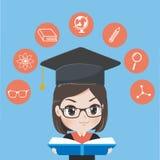 La muchacha graduada leyó los libros para ganar conocimiento libre illustration