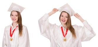 La muchacha graduada solated en blanco imágenes de archivo libres de regalías
