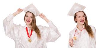 La muchacha graduada solated en blanco imagen de archivo