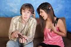 La muchacha grita en el novio Fotos de archivo libres de regalías