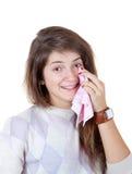 La muchacha gritaba de felicidad Imagenes de archivo