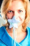 La muchacha-hada en una alineada azul Imagen de archivo libre de regalías