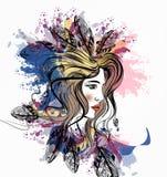 La muchacha hermosa con boho empluma en sus puntos de la cabeza y de la tinta libre illustration