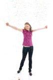 La muchacha hermosa con el confeti aislado Imagen de archivo libre de regalías