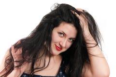 La muchacha hermosa con el pelo tousled Foto de archivo