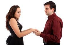 La muchacha hermosa con su novio Imágenes de archivo libres de regalías