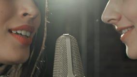 La muchacha hermosa dos canta en un micrófono en café Imágenes de archivo libres de regalías