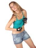 La muchacha hermosa en cortocircuitos aisló Imagen de archivo