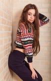 La muchacha hermosa en un suéter hecho punto multicolor se coloca cerca de la pared de ladrillo Cerca de la ventana Imágenes de archivo libres de regalías