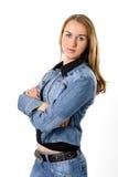 La muchacha hermosa en una chaqueta de los pantalones vaqueros Imágenes de archivo libres de regalías