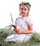 La muchacha hermosa en una guirnalda de las flores Fotos de archivo