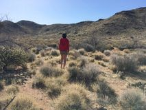 La muchacha hermosa está caminando en el desierto de Arizona al mediodía fotos de archivo libres de regalías