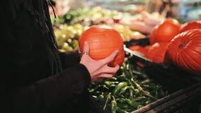 La muchacha hermosa está eligiendo una calabaza en un soporte con las verduras en el supermercado para Autumn Fall Holidays como  almacen de metraje de vídeo