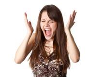 La muchacha hermosa está gritando Fotos de archivo libres de regalías