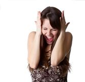 La muchacha hermosa está gritando Foto de archivo libre de regalías