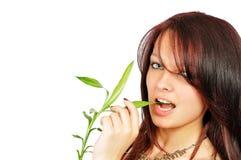 La muchacha hermosa fresca muerde un bambú fotografía de archivo