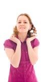 La muchacha hermosa joven aislada en un blanco Fotos de archivo libres de regalías