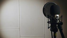 La muchacha hermosa joven canta Cantante joven que canta en un micrófono Retrato cercano para arriba del cantante Estudio de grab imagen de archivo