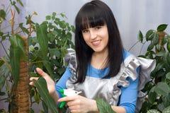 La muchacha hermosa pinta (con vaporizador) las plantas verdes del agua Imágenes de archivo libres de regalías
