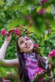 La muchacha hermosa que lleva a cabo una rama de la manzana florece Imagenes de archivo