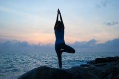La muchacha hermosa que se sienta en piedras y que mira en una distancia, la muchacha en la puesta del sol para meditar en el sil Foto de archivo libre de regalías