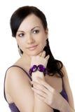 La muchacha hermosa será alineada púrpura Foto de archivo libre de regalías