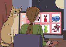 La muchacha hojea en el sitio de las compras de Internet stock de ilustración