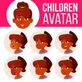 La muchacha india Avatar fijó vector del niño High School secundaria Haga frente a las emociones Usuario, carácter Alegría, basta stock de ilustración