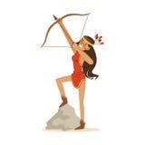 La muchacha india del nativo americano en el vestido indio rojo tradicional que tira un arco y una flecha vector el ejemplo Fotografía de archivo