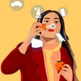 La muchacha infla burbujas de jabón, y cada burbuja la manifiesta los deseos libre illustration