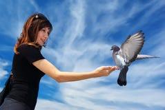 La muchacha introduce la paloma Imagen de archivo libre de regalías