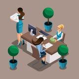 La muchacha isométrica el empresario firma un acuerdo de préstamo con el banco El empleado del banco publica efectivo Poseer el n stock de ilustración